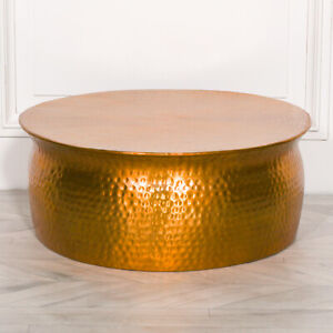 Gold Brass Modern Aluminium Hammered Round Drum Coffee Lamp Table Coffee Stand