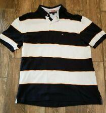 Tommy Hilfiger Golf Casual Polo Shirt White Blue Stripes Auburn Xl Sharp!