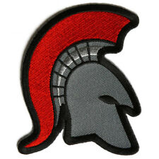 Embroidered Spartan Helmet Red Mohawk Sew or Iron on Patch Biker Patch