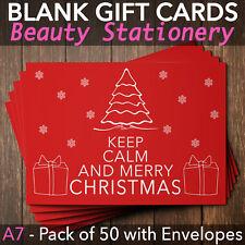 Christmas Gift Vouchers Blank Beauty Salon Card Nail Massage x50 A7+Envelope KC