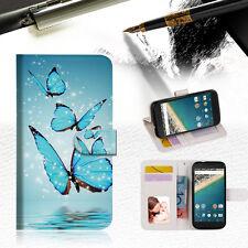 Cyan Butterfly Wallet Case Cover For Alcatel Pop Star -- A019