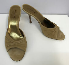 COACH MULES SHOES TAN SUEDE RUCHED WORN ONCE SIZE 8 B