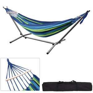 9Ft Double Hammock with Spreader Bar Steel Stand for Travel Outdoor Camping NEW