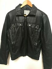 CONVERSE ONE STAR Mens Size S Black Faux Leather Full Zip Moto Jacket 4 Pockets