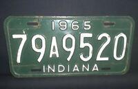 Vintage 1965 Indiana License Plate Tippecanoe County
