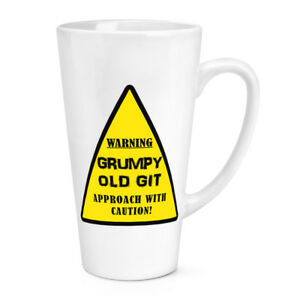 Warning Grumpy Old Git Yellow 17oz Large Latte Mug Cup - Dad Father's Day Funny