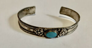 Natural  Vintage Turquoise Bangle Cuff Bracelet  Silver