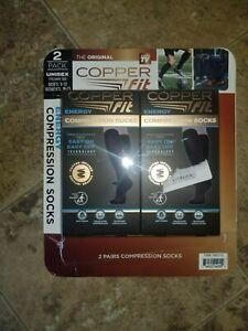 Copper Fit Energy Knee High Compression Socks Black 2 Pack Unisex