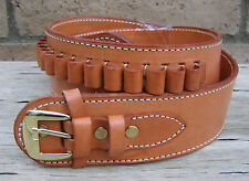 NEW! Deluxe Western TAN Genuine Leather 38/357 cal Cartridge Belt SASS Gun  a
