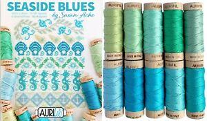 Seaside Blues Aurifloss by Susan Acke 10 6 Strand Spools 18 yds each