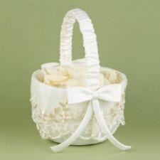Vintage Charm Ivory Flower Girl Basket