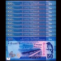 Lot 10 PCS, Sri Lanka 50 Rupees P-124, UNC, 2015-2017