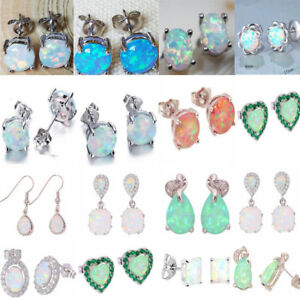 Colorful 925 Silver Fire Opal Crystal Earring Ear Stud Bridal Jewelry Wedding