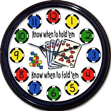 Poker Card Game Holdem Foldem Wall Clock Man Cave New 10""