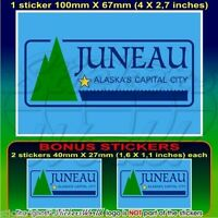"JUNEAU Flag Alaska State USA American Bumper Decal Sticker, 4""(100mm) x1+2 BONUS"