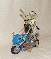 Dollhouse Halloween Spooky Skeletons on a ride-Ninja bike-OOAK-Artist-Miniature