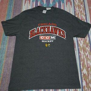 Chicago Blackhawks Shirt Adult Large Grey CCM Hockey NHL Mens