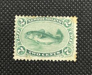 NEWFOUNDLAND Canada #24a 1870 2c Green Codfish MNG (see Description)