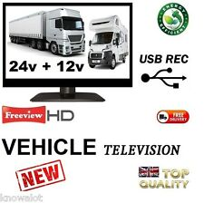 "24V TRUCK LORRY HGV LOW POWER TV 16"" FREEVIEW AND RECORD 12V 24 VOLT Scania Cab"