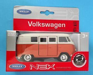 Voiture Miniature Volkswagen Combi 1963 T1 Bus Orange et crème Welly