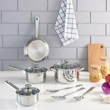 Stainless Steel 10 Pieces Cookware Set | Pots, Pans, Bowls