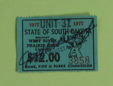 1977 South Dakota Resident West River Deer Hunting License Permit Stamp