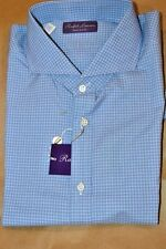 $450 NWT PURPLE LABEL RL Blue 16.5 eu42 KEATON WINDOWPANE cotton dress shirt