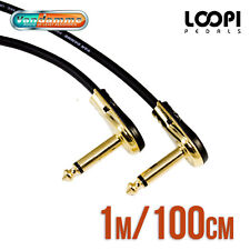 "1m 1/4"" Pancake Right Angle Guitar Effect - Thin Pro Patch Van Damme Cable"
