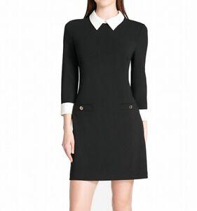 Tommy Hilfiger Womens 3/4 Sleeve 2 Tone Black Size 14 A-Line Dress $119- 125
