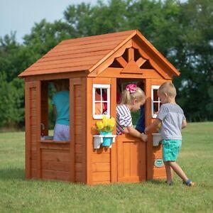 Backyard Playhouse Wooden Outdoor House Playset Cottage Cedar Kids Fun Brown