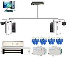 2 Door Bio Fingerprint/RFID Entry Access Systems & Mag Lock +Exit Motion Sensor