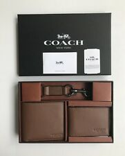 Coach * Men's Wallet F64118 CWH Dark Saddle Compact ID & Key Fob Box Set
