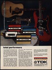 1974 TDK Cassette Tapes - Electric Acoustic Guitar - Trumpet - Drum - VINTAGE AD