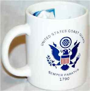 12 oz USCG White Coast Guard Ceramic Mug with 12x18 Coast Guard Flag