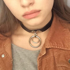 Punk Rock Dark Harajuku Double O RING Leather Collar Choker Necklace New Gift