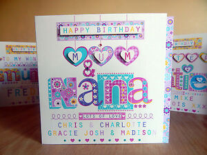 Mum & Nana Nan card Grandma Nanny Gran Granny personalised special birthday card