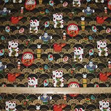 COTTON Poplin Fabric Japanese Lucky Cat Koi on black w/Metallic Highlights BTY