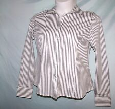 George Multi-Color White Gray Striped Cotton Blend Long Sleeve Shirt Size L