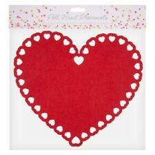 Set of 2 Valentine's Day Heart Shape Placemats  Red Felt
