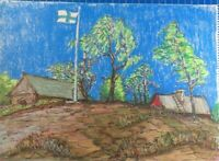 Rolf Janssen Wilhelmshaven Kreidezeichnung unsigniert Finnland 1976 O-2211