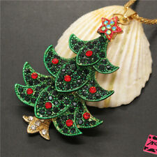 Hot Green Crystal Christmas Tree Star Betsey Johnson Pendant Sweater Necklace