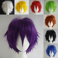 US Short Straight Cosplay Full Wig blonde pink brown Anime Party unisex Wigs sd#