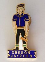 Oregon Jaycees Woodsman Logger Jaycees Pin Badge Authentic Quality Rare (N9)