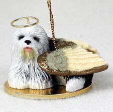 Old English Sheepdog Ornament Angel Figurine Hand Painted