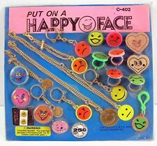 Happy Face Rings Necklaces Bracelet Toys  Gumball Vending Machine Disp Card #52