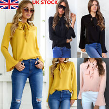 UK Womens Ladies Bow Tie Neck Chiffon Long Sleeve Tops Work Shirt Casual Blouse