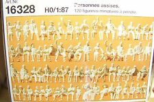 HO Preiser 16328 ( ONE HUNDRED TWENTY ) 120 UNPAINTED Seated Figures KIT