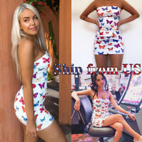 Summer Beach One Piece Tube Top Dress Elastic Strapless Tight Stretch Bodycon