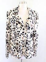Chicos Animal Print Asymmetrical Zip Knit Moto Jacket Size 2 Cheetah Black Cream
