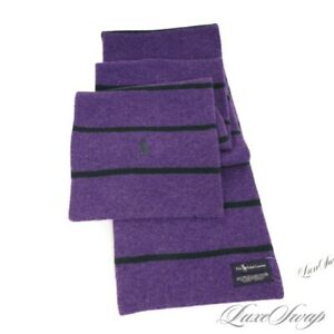 #1 MENSWEAR Polo Ralph Lauren SIGNATURE Purple Navy Blue Stripe Wool Knit Scarf